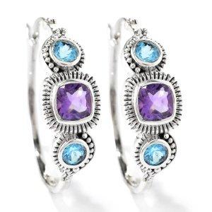 Blue Topaz and Amethyst Hoop Earrings Set in Sterling Silver