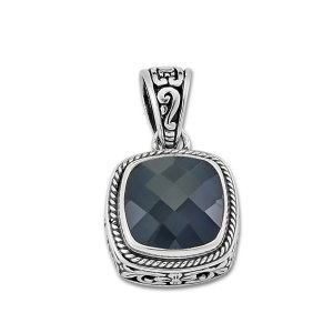 Square Floral Pendant with Black Onyx Set in Sterling Silver