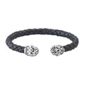 Floral Design End Caps on Woven Black Leather Bangle in Sterling Silver