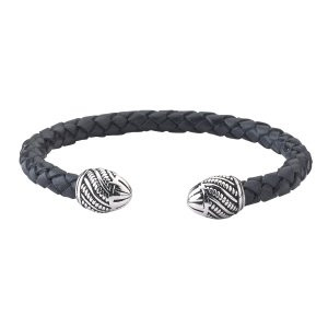 Sterling Silver End Caps on Woven Black Leather Bangle