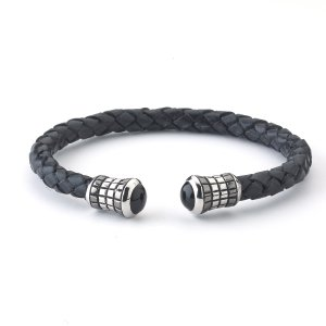 Black Onyx End Caps on Black Leather Bangle in Sterling Silver