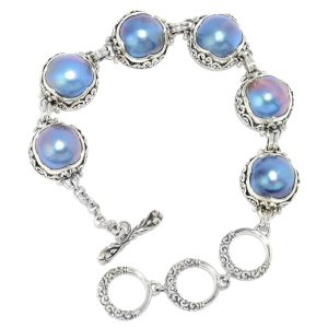Round Blue Mabe Pearl Stataion Bracelet in Sterling Silver