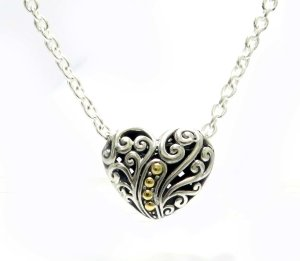 18 Balinese Swirl Design Heart Necklace in Sterling Silver and 18k Yellow Gold