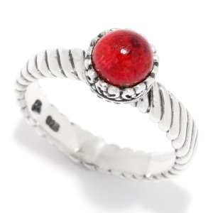Round Coral Stackable Ring Set in Sterling Silver