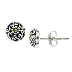 Floral Design Stud Earring in Sterling Silver and 18k Yellow Gold