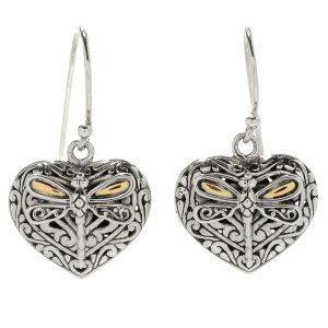 Heart Shaped Dragonfly Earrings in Sterling Silver and 18k Yelllow Gold