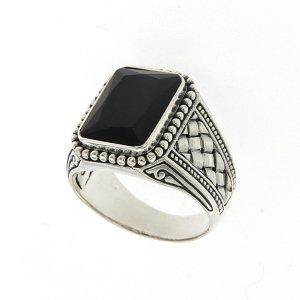 Emerald Cut Black Onyx Ring in Sterling Silver