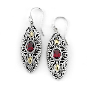 Marquise Shaped Garnet Earrings in Sterling Silver and 18k Yelllow Gold