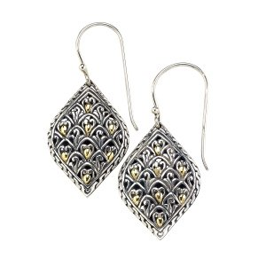 Intricate Balinese Desgin Earrings in Sterling Silver and 18k Yelllow Gold