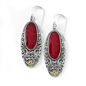 Oval Coral Earrings with Balinese Swirl Designs in Sterling Silver and 18k Yelllow Gold