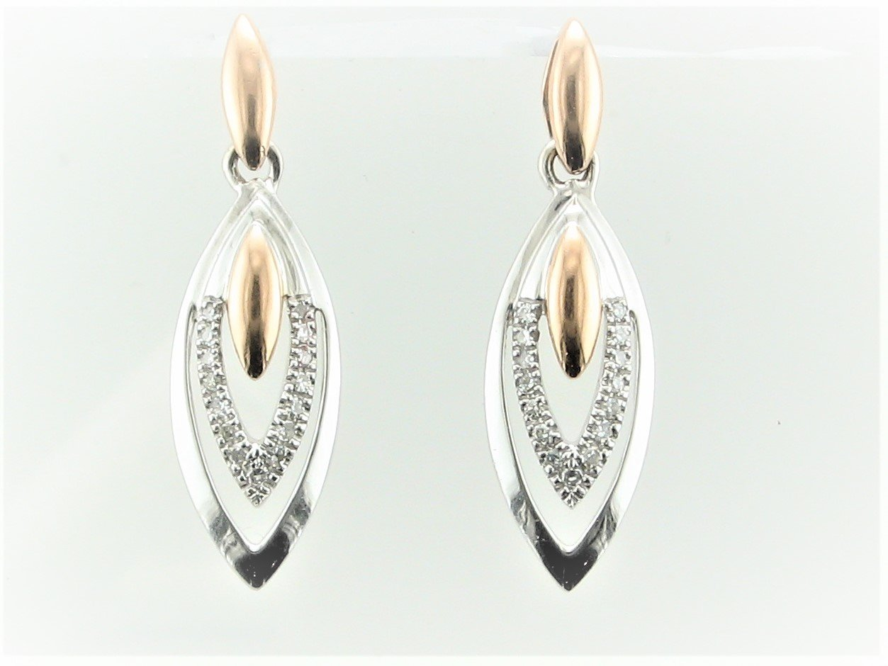 0.07 Total Carat Weight Diamond Earrings Set in 14 Karat White and Rose Gold