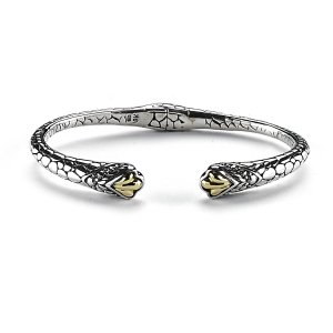 Pebble Design Hinged Cable Bracelet in Sterling Silver and 18k Yellow Gold