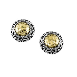 Round Hammered Gold Stud Earring in Sterling Silver and 18k Yellow Gold