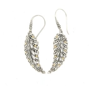 Leaf Shaped  Earrings in Sterling Silver and 18k Yelllow Gold