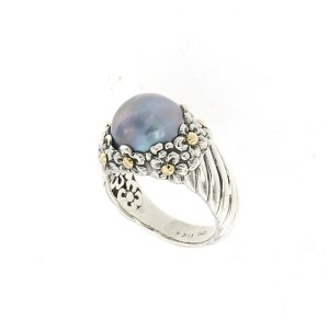 Blue Mabe Pearl Flower Design Ring in Sterling Silver and 18k Yellow Gold