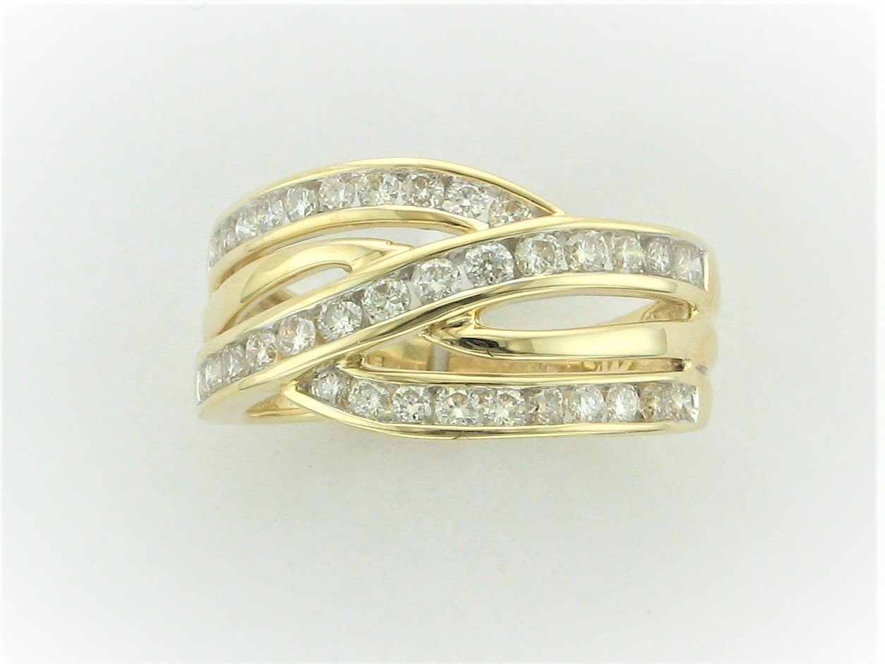 0.75 Total Carat Weight Channel Set Diamond Ring Set in 14 Karat Yellow Gold