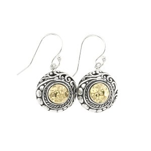 Round Hammered Gold Drop Stud Earring in Sterling Silver and 18k Yellow Gold