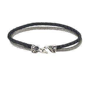 Tulang Naga & Black Leather Cord Bracelet in Sterling Silver