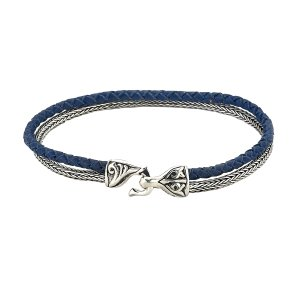 Tulang Naga & Blue Leather Cord Bracelet in Sterling Silver