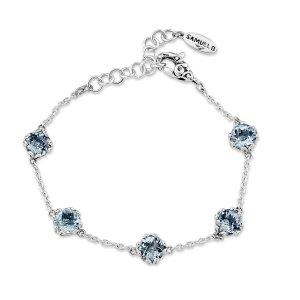 7 mm Round Blue Topaz Station Bracelet Set in Sterling Silver