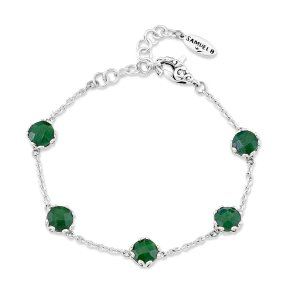 7 mm Round Emerald Station Bracelet Set in Sterling Silver