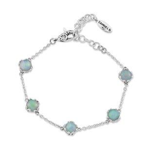 7 mm Round Opal Station Bracelet set in Sterling Silver