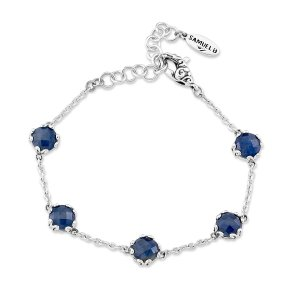 7 mm Round Blue Sapphire Station Bracelet Set in Sterling Silver