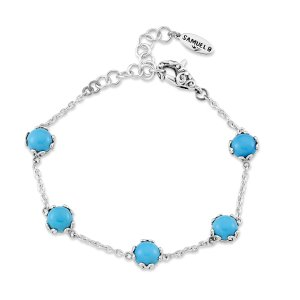 7 mm Round Sleeping Beauty Turquoise Station Bracelet Set in Sterling Silver