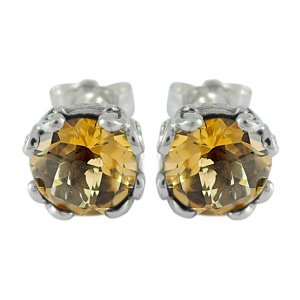 7 mm Round Citrine Studs Set in Sterling Silver