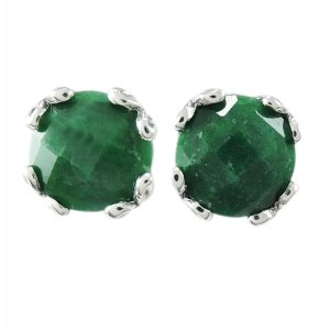 7 mm Round Emerald Studs Set in Sterling Silver
