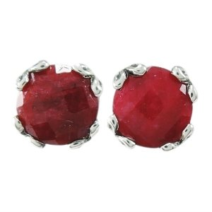 7 mm Round Ruby Studs Set in Sterling Silver