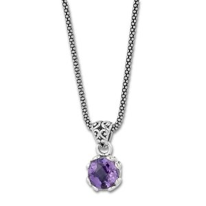 7 MM Round Amethyst Pendant on 18 Popcorn Chain Set in Sterling Silver