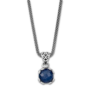 7 MM Round Blue Sapphire Pendant on 18 Chain Set in Sterling Silver