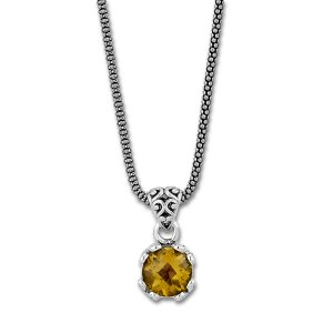 7 MM Round Citrine Pendant on 18 Chain Set in Sterling Silver
