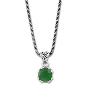 7 MM Round Emerald Pendant with 18 Chain Set in Sterling  Silver