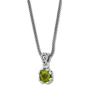 7 MM Round Peridot Pendant on 18 Chain Set in Sterling Silver