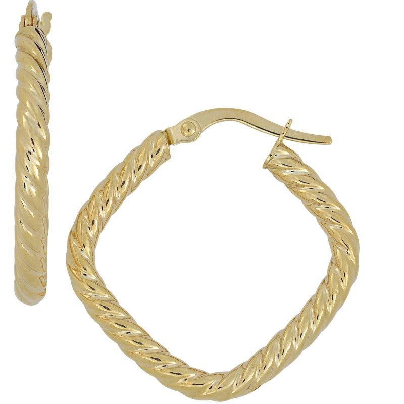14K Yellow Gold Ribbed Square Hoop Earrings