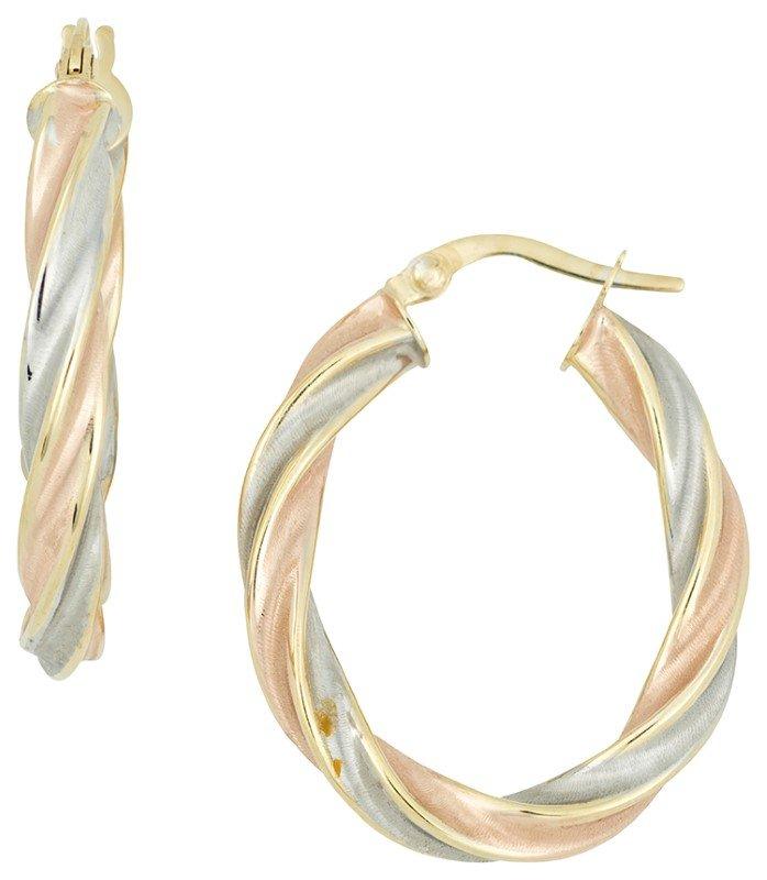 Tri Color Twisted Hoop Earrings Hoop Earrings