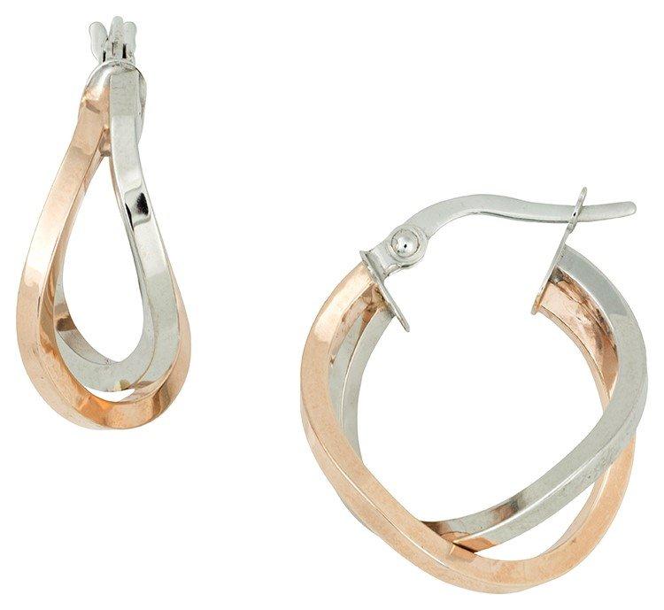 14K White & Rose Gold Crisscross Hoop Earrings