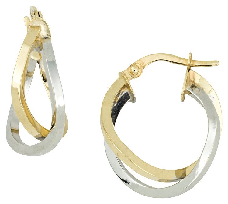 14K White & Yellow Gold Crisscross Hoop Earrings