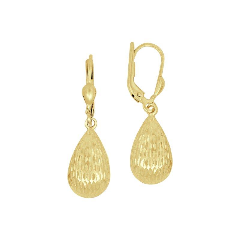 Diamond Cut Dangle Earrings in 14K Gold