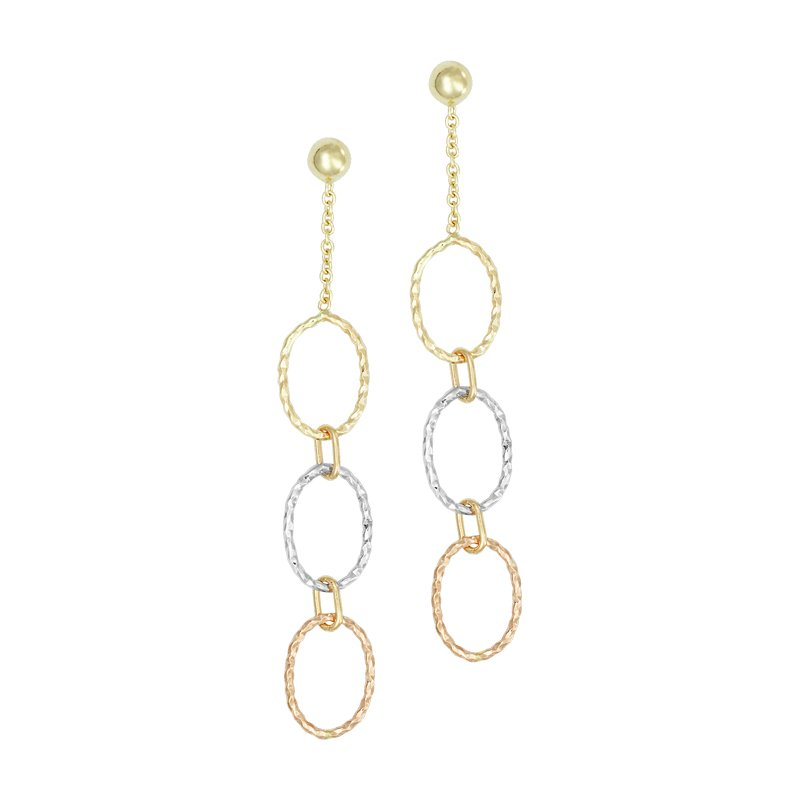 Tri Colored Oval Station Earrings Set in 14 Karat Yellow, White and Rose Gold