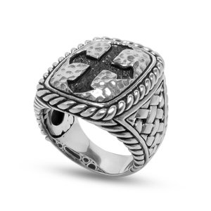 Criss - Cross and Twisted Rope Design Cross Ring Set in Sterling Silver