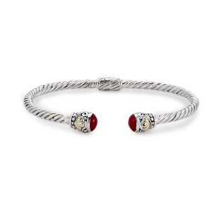 3 MM Twisted Cable Bangle with Coral Endcaps Set in Sterling Silver and 18 Karat Yellow Gold