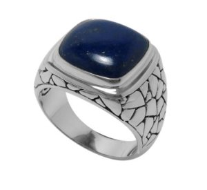 Pebble Design Ring with Cushion Cut Lapis set in Sterling Silver