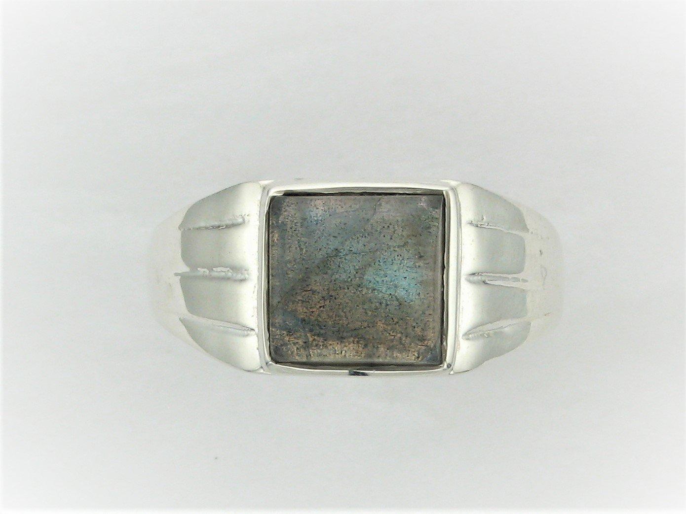 Square Labradorite Ring Set in Sterling Silver