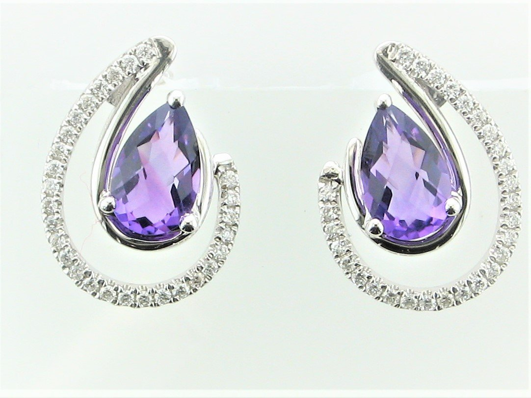 1.52 Total Carat Weight Amethyst and Diamond Earrings set in 14 Karat White Gold