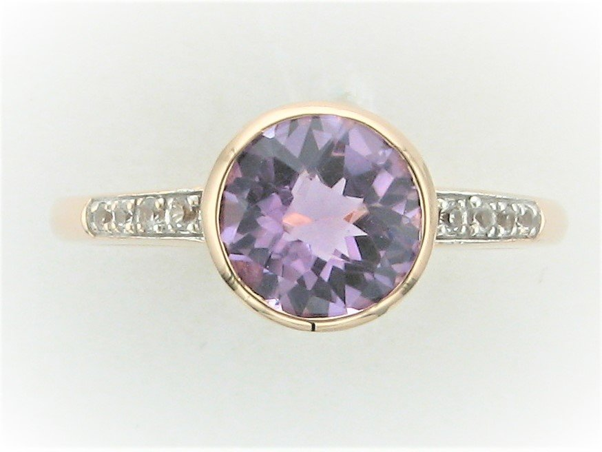 1.48 Carat Round Amethyst and  Diamond Ring set in 14 Karat Rose Gold