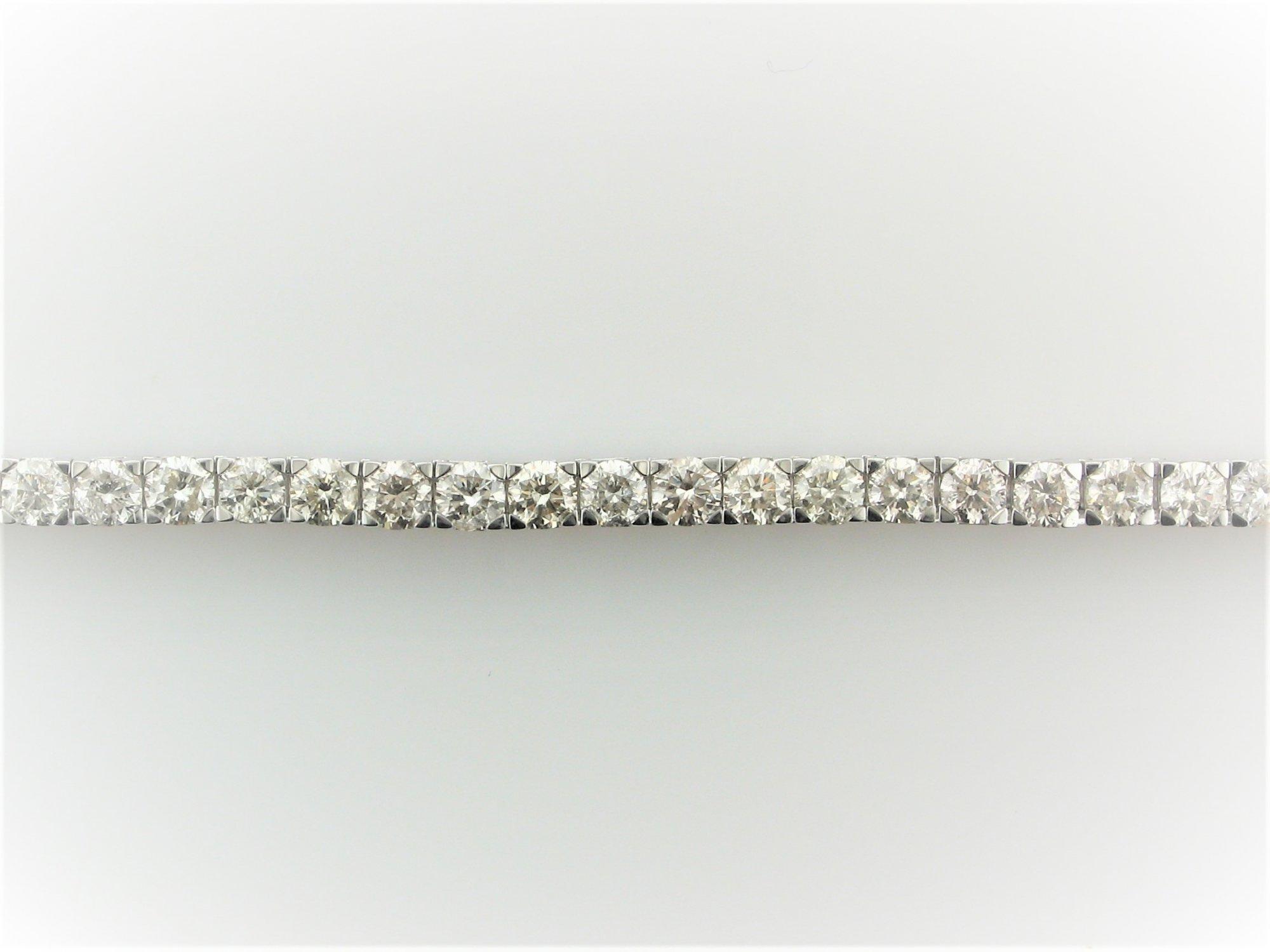 10 Total Carat Weight  Diamond Tennis Bracelet set in 14 Karat  White Gold