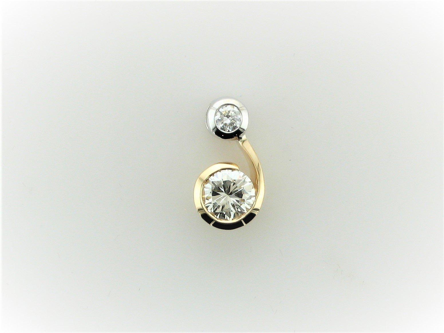 .75 Carat Diamond Pendant Set in 14 Karat Yellow and White Gold